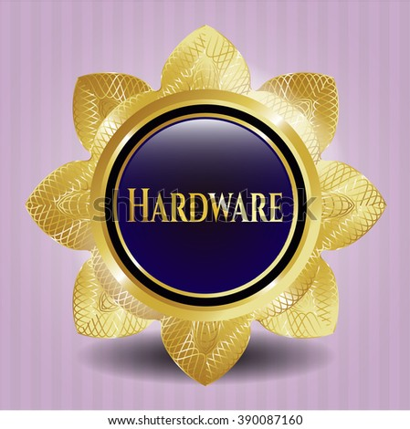 Hardware gold shiny badge