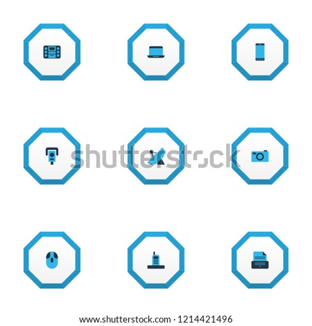 Hardware icons colored set with smartphone, laptop, sputnik antenna and other capture elements. Isolated vector illustration hardware icons.