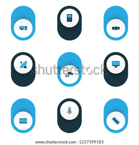 Hardware icons colored set with socket, projector, sputnik antenna and other screen elements. Isolated vector illustration hardware icons.