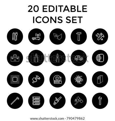 Hardware icons. set of 20 editable outline hardware icons such as hummer and wrench, hummer, garden hammer, chain saw. best quality hardware elements in trendy style.