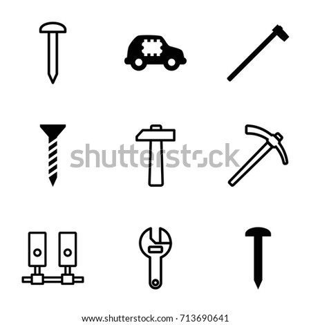 Hardware icons set. set of 9 hardware filled and outline icons such as nail, screw, garden hammer, cpu in car, wrench, hammer