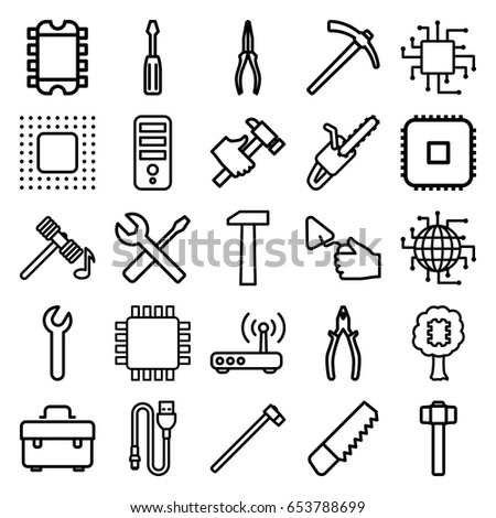 Hardware icons set. set of 25 hardware outline icons such as hammer, cpu, saw, toolbox, screwdriver, pliers, trowel, hummer, wrench and screwdriver, garden hammer, chain saw