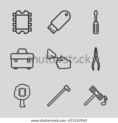 Hardware icons set. set of 9 hardware outline icons such as hammer, toolbox, screwdriver, pliers, trowel, garden hammer, flash drive, CPU in tree