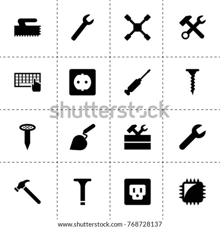 Hardware icons. vector collection filled hardware icons. includes symbols such as wrench, keyboard, wrench hammer, work tool, chip tuning. use for web, mobile and ui design.