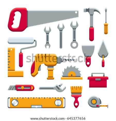 Hardware industrial tools kit flat vector icons