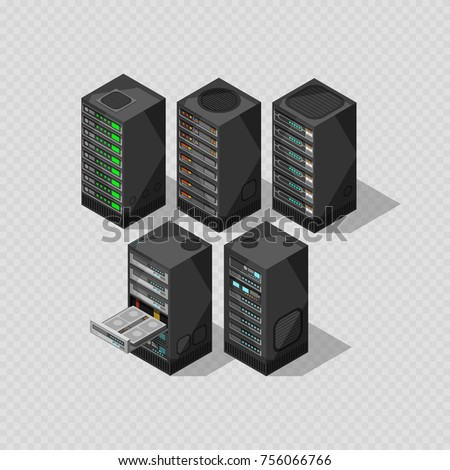 Hardware isometric equipment. 3d telecommunication server isolated on transparent background. Vector illustration