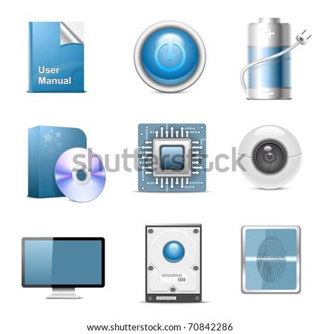 hardware parts vector icon set
