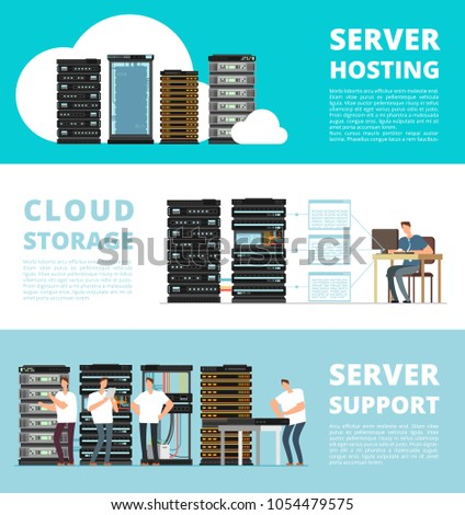 Hardware server system and network administration. Data storage engineering service. Vector hosting server and support service administration illustration