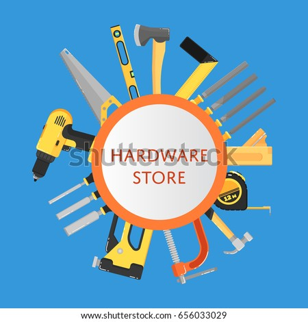 Hardware store banner with building tools vector illustration. Hand tools for carpentry and home renovation. DIY set. Round template with text. Construction equipment. Hand holding power tools.