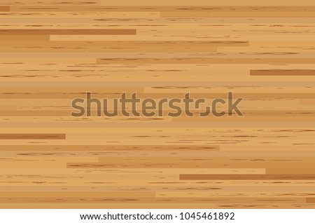 Hardwood maple basketball court floor viewed from above. Vector illustration.