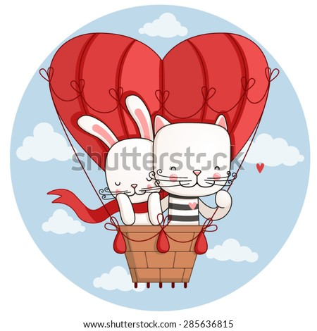 Hare and cat are flying on the big balloon in the shape of heart.