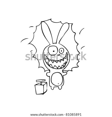 Hare and explosives - stock vector
