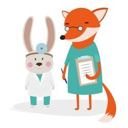 Hare doctor, fox nurse, medical, vector