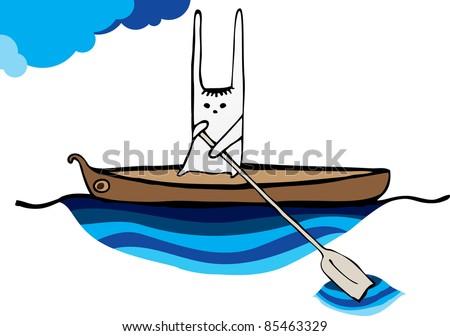 hare sailing canoe vector image