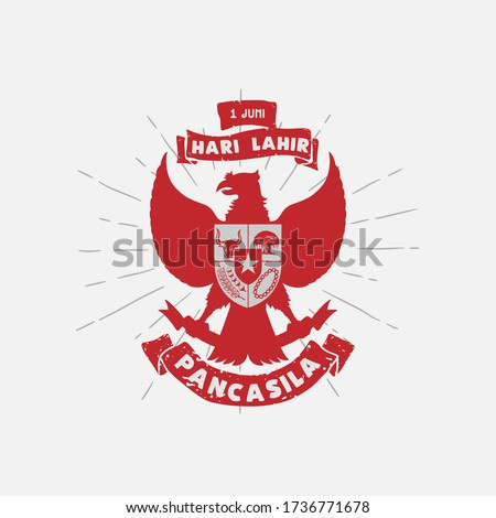 Hari Lahir Pancasila, 1 Juni. Translation : June 1, Indonesian Pancasila Day. Unity in Diversity. vector illustration.