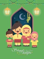 Hari Raya Aidilfitri greeting card. Cartoon muslim family with colorful light bulbs, ketupat, pelita (oil lamp), fanoos lantern & window frame in flat vector illustration. (caption: Happy Fasting Day)