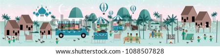 hari raya kampung scene greetings template vector/illustration with malay words that mean 'jolly aidilfitri'