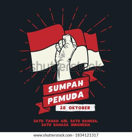 Hari Sumpah Pemuda, 28 Oktober. Translation : October 28, Happy Day Youth Pledge of Indonesia. vector illustration.