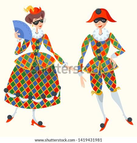 Harlequin and Columbina. Characters of Italian commedia dell'arte. Vector illustration.