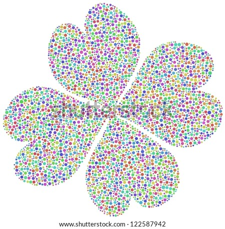 Harlequin four leaf clover with mosaic tiles. White background.