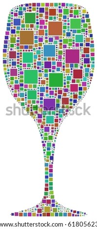 Harlequin glass of wine. A number of 1143 squares have been inserted into the mosaic