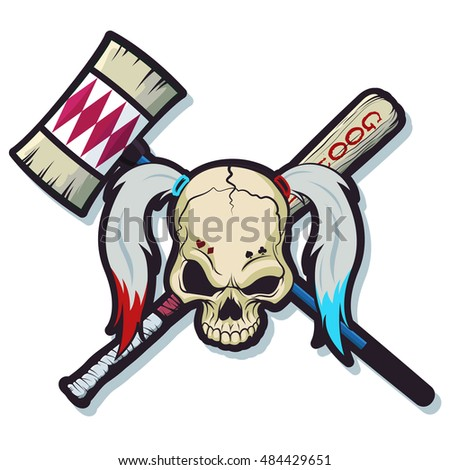 Harlequin Skull with Hammer and Baseball Bat