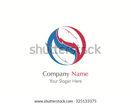 Harmony leaf symbol yin yang. Vector fire and nature logo.
