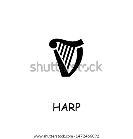 Harp flat vector icon. Hand drawn style design illustrations. Stock photo ©