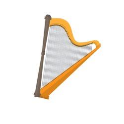 Harp. musical instrument, vector illustration