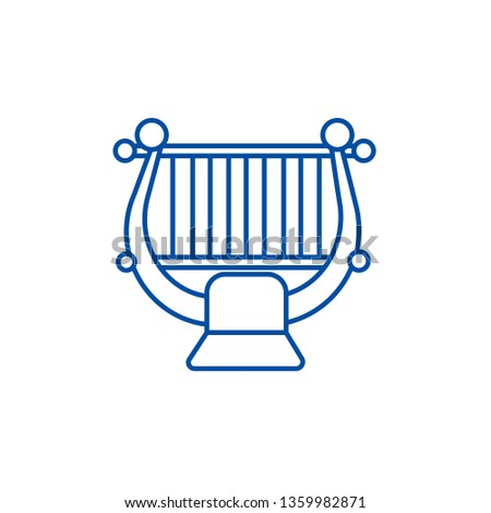 Harp,string, classical music  line icon concept. Harp,string, classical music  flat  vector symbol, sign, outline illustration.