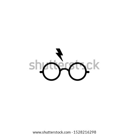 Harry Potter glasses vector icon. Glass with lighten icon design. logo