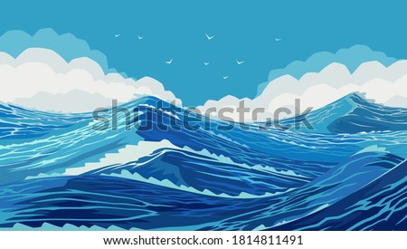 Harsh ocean with large sea waves. Drawing of ocean spaces. Wavy and beautiful sea. The Pacific Ocean is raging. Large and strong blue waves. Raging ocean waves in the Blue Sea. Illustration, EPS 10
