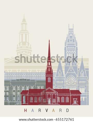 Harvard skyline poster in editable vector file