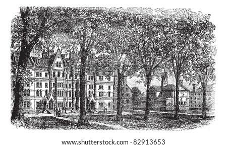 Harvard University, Cambridge, Massachussets vintage engraving. Old engraved illustration of Harvard University campus, during 1890s. Trousset encyclopedia (1886 - 1891).