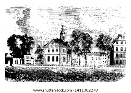 Harvard university is the oldest institution of higher learning in Cambridge, Massasschusets vintage line drawing.