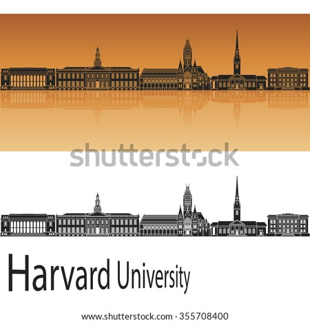 Harvard University skyline in orange background in editable vector file
