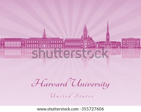 Harvard University skyline in purple radiant orchid in editable vector file