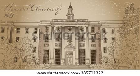 Harvard University. Vector illustration. Old photo