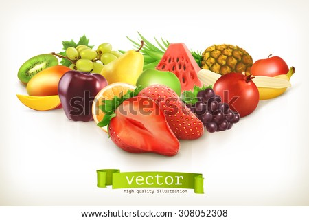 Shutterstock Harvest juicy fruit and berries, vector illustration isolated on white