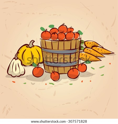 harvest time hand drawn vector
