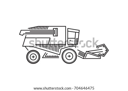 Harvester vector icon in a linear fashion. Agricultural working in the fields, on the farms for harvesting grain, wheat, rye.