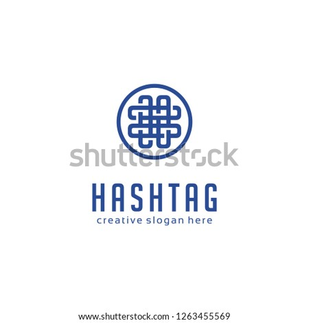 Hashtag Abstract Symbol Logo Vector. Concept of number sign, social media, micro blogging, pr, popularity. isolated on white background. Flat style trend modern logo design vector illustration