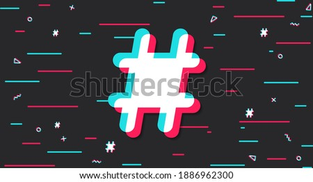 Hashtag background in the style of the social network. Dark modern digital background with a colored hashtag in the center. Vector illustration Stock fotó ©