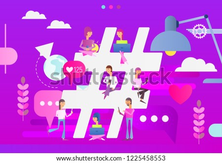 Hashtag Concept - Young People Using Laptop and Smartphone for Sending Posts in Network near Big Symbol Hashtag. Modern Flat Design of Vector Illustration.