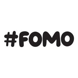 hashtag fomo. Hand drawn vector lettering illustration, concept for social media, stickers design.