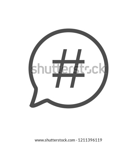 Hashtag icon in speech bubble. Vector illustration, flat design.