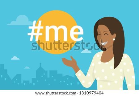 hashtag me concept flat vector