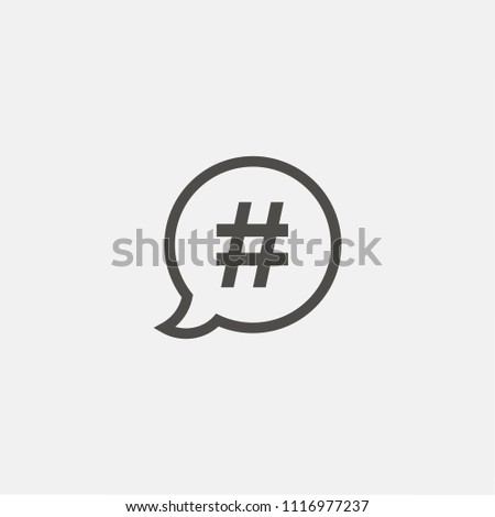 Hashtag sign illustration. Vector. Outline icon