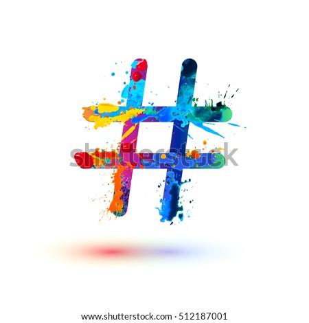 hashtag sign of splash paint