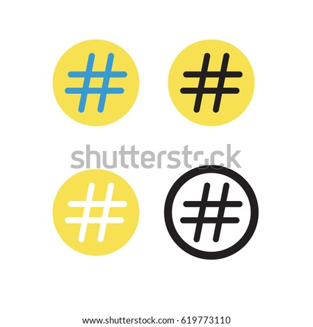Hashtag sign, vector icon, on white background